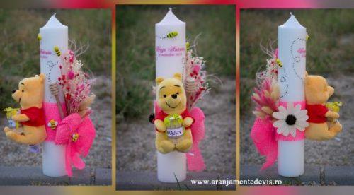 Lumanare botez Winnie cu roz