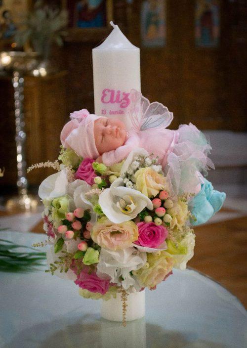 Lumanare_botez fetita flori naturale
