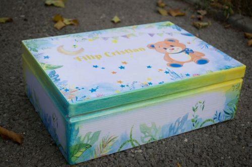 Cutie lemn amintiri botez