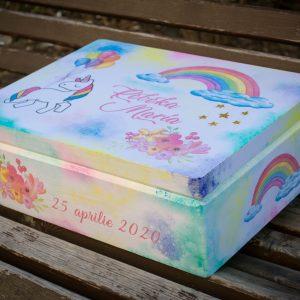 Cutie lemn unicorn botez