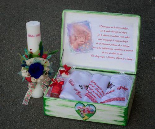 Cutie lemn amintiri lumanare botez