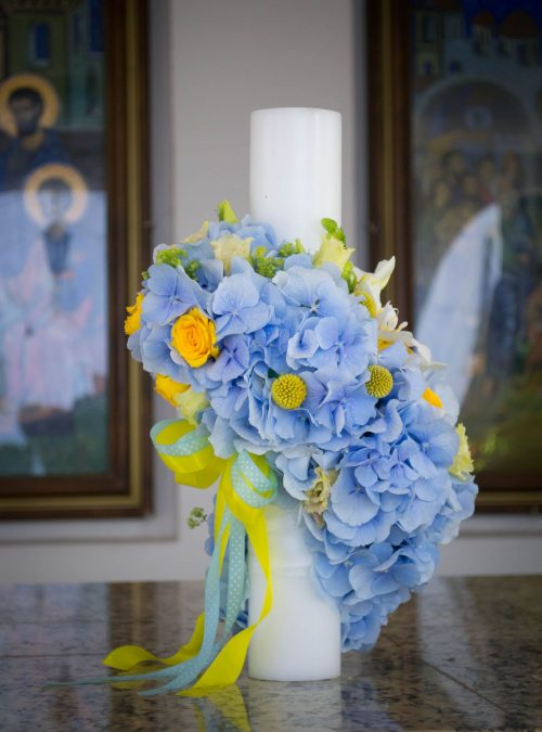 Lumanare_botez baiat hortensie blue