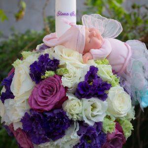 Lumanari botez flori mov