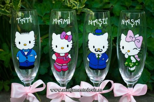 Pahare pictate manual Hello Kitty