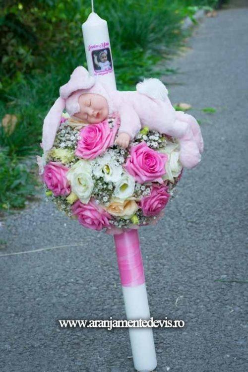 lumanare botez cu iepuras roz