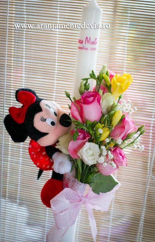 Lumanare botez minnie flori roz
