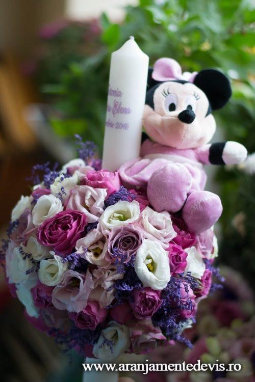 Lumanare de botez cu Minnie roz