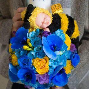 Lumanare botez flori albastre