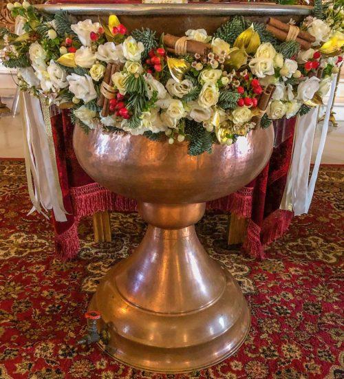 Aranjament decor cristelnita botez craciun