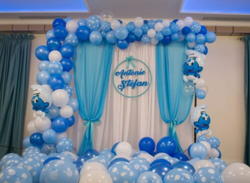 arcada-baloane-botez-decor-baloane-photo-crner-baloane-strumf-strumfii-nume-peronalizat