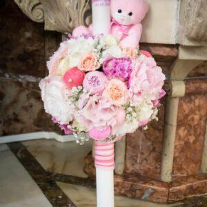 Lumanare-botez-fetita-flori-naturale-pastel