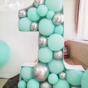 cifra-aniversara-decor-baloane-menta-argintiu
